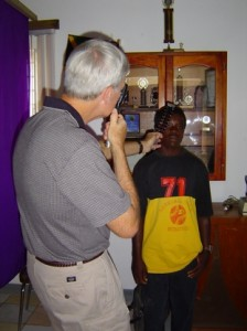06 Dr Roger Jones doing retinoscopy Jamaica 2004