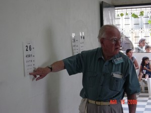 Bob checking visual acuity Paraguay 2006